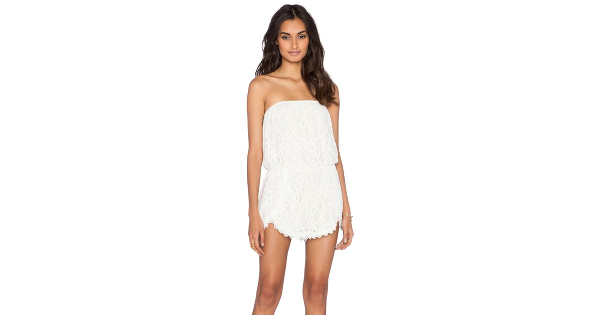 714dd1c65c49 Lyst - Free People Tahlia Lace Romper in White