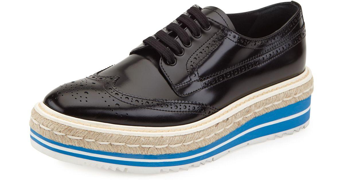 a36c85e0254 Lyst - Prada Platform Brogue-trim Leather Oxford in Black for Men