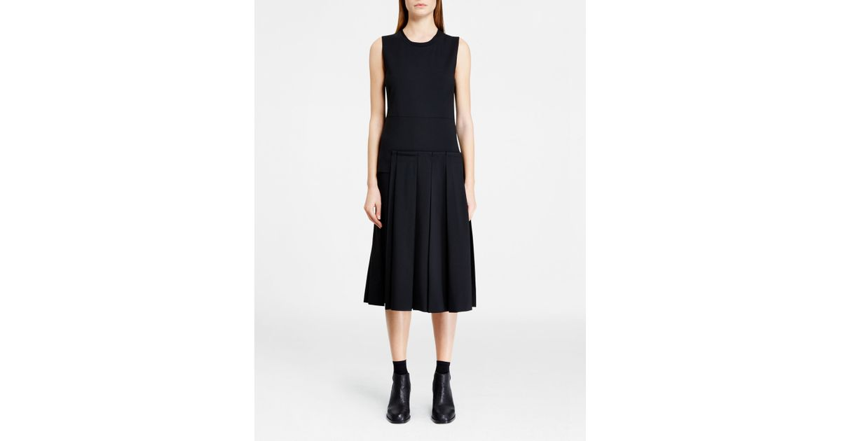 dkny dress with pleated skirt in black lyst