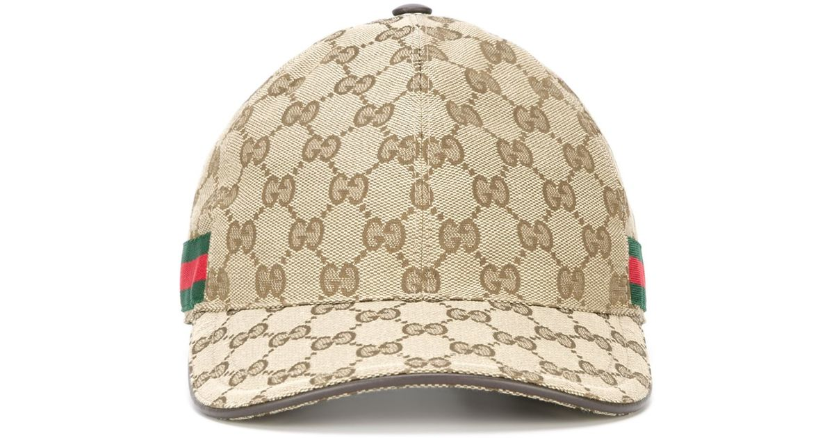 2a91db8bf2e Lyst - Gucci Cappellino Da Baseball In Tessuto Original Gg Con Nastro Web  in Natural for Men