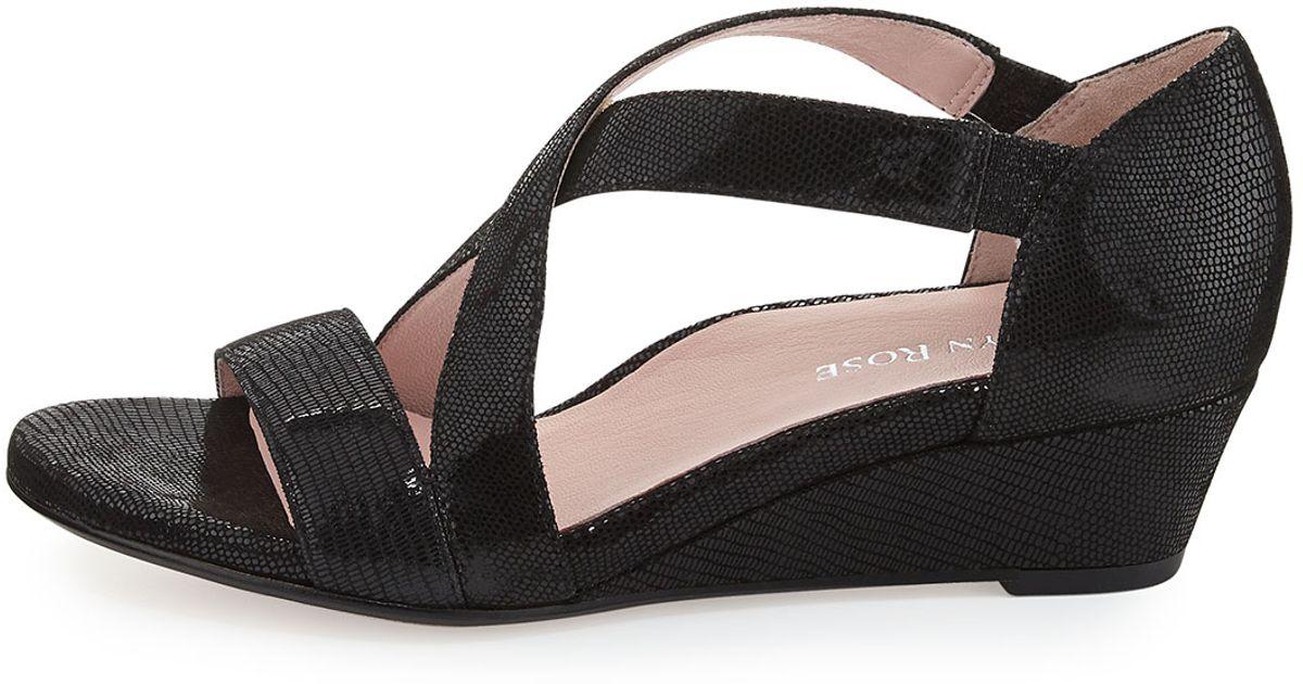 c95672d007c597 Lyst - Taryn Rose Saraia Crisscross Demi-Wedge Sandal in Black