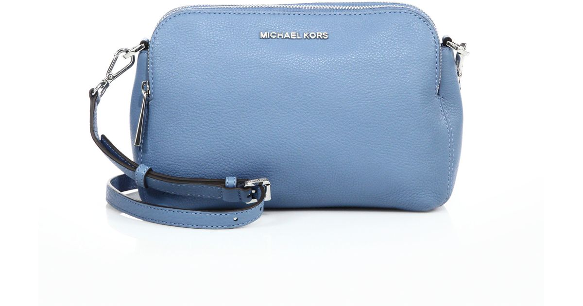 71f3de6e6e6e ... new zealand lyst michael michael kors bedford medium double zip leather  messenger bag in blue a6287