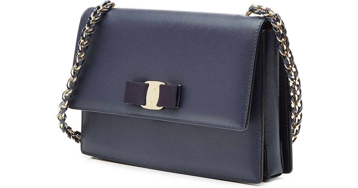 f1957a818933 Lyst - Ferragamo Ginny Medium Leather Shoulder Bag - Blue in Blue