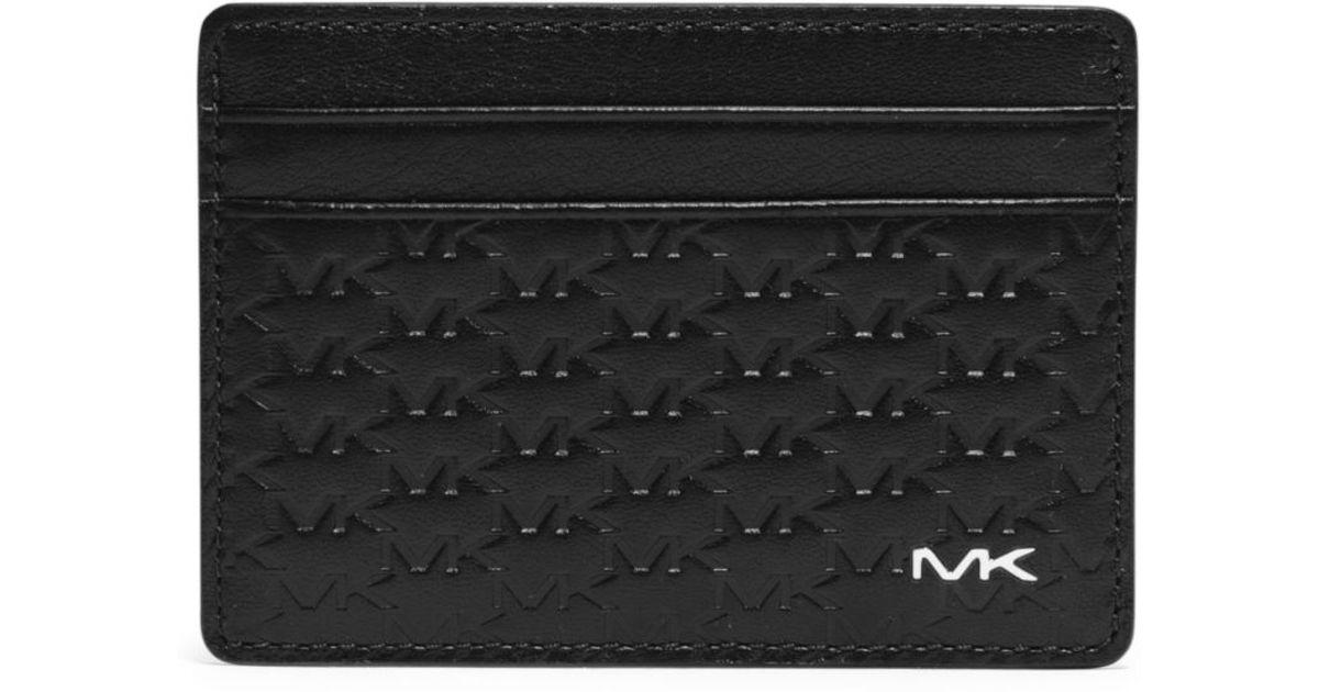 1357db170a Michael Kors Jet Set Men's Logo Embossed-leather Card Case in Black for Men  - Lyst