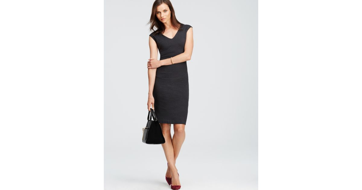 Lyst - Ann Taylor Houndstooth Cap Sleeve Dress in Gray