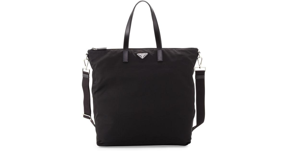 9f36e29973df Lyst - Prada Men S Gabardine Nylon Midsize Tote Bag in Black for Men