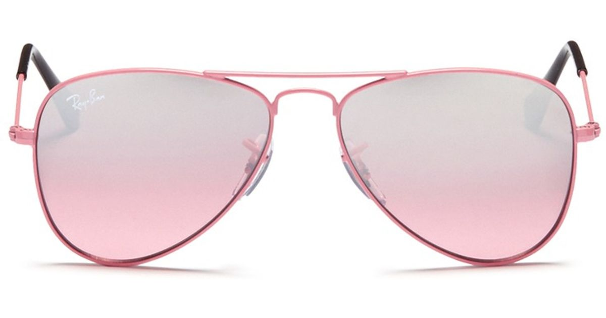 9631a45e9f Ray-Ban  aviator Junior  Metal Frame Mirror Sunglasses in Pink - Lyst