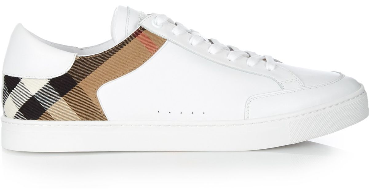 Lyst - Burberry Leather House-check Low-top Trainers in White for Men 35ef1d329