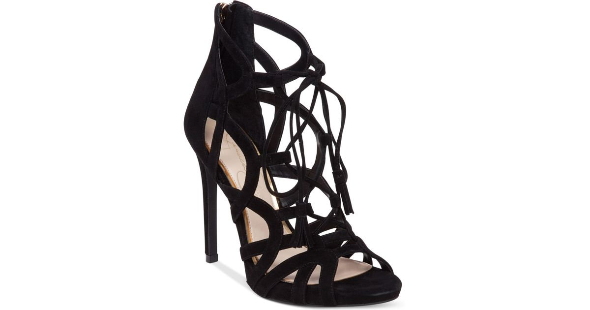fc91cefdab1 Lyst - Jessica Simpson Racine Lace-up High-heel Gladiator Sandals in Black