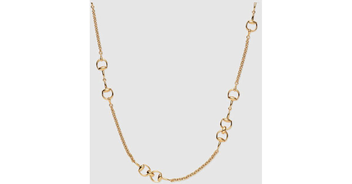 Lyst - Gucci Gold And Diamond Horsebit Necklace in Metallic