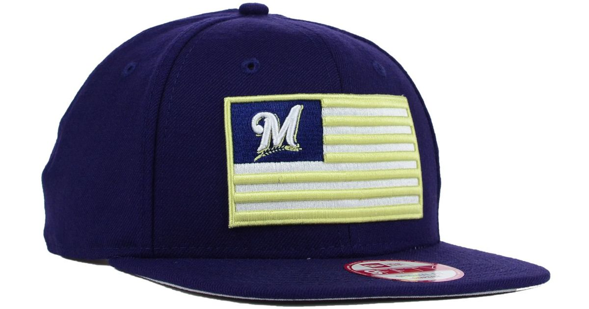 new concept 49ba9 2a57e KTZ Milwaukee Brewers Team Merica 9fifty Snapback Cap in Blue for Men - Lyst