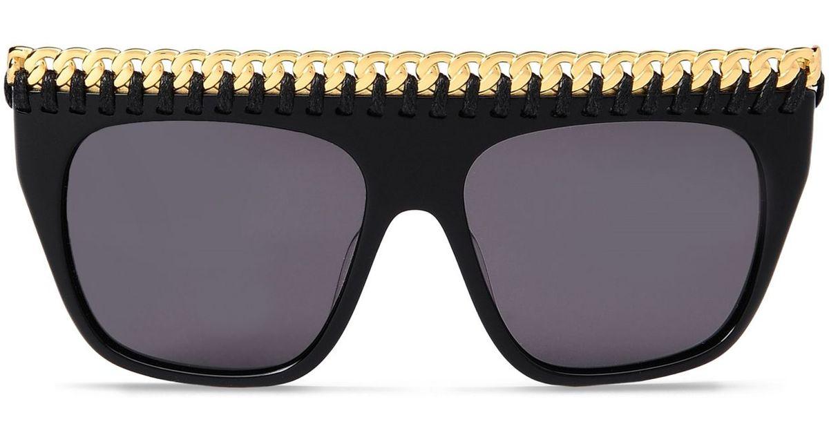 87f923e78ede2 Stella McCartney Falabella Oversized Square Sunglasses in Metallic - Lyst