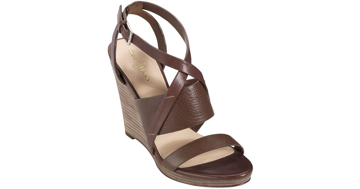 3de1f4d619 Lyst - Cole Haan Leather Strappy Wedge Sandals in Brown