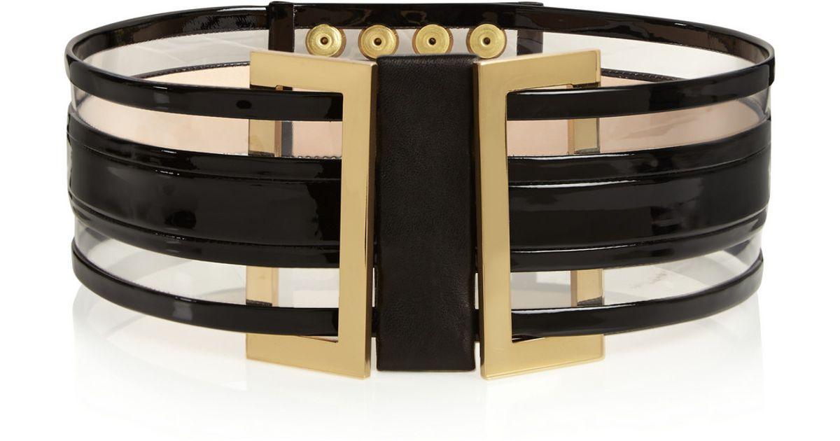 bb4fc42d94 Balmain Patent-Leather And Pvc Waist Belt in Black - Lyst