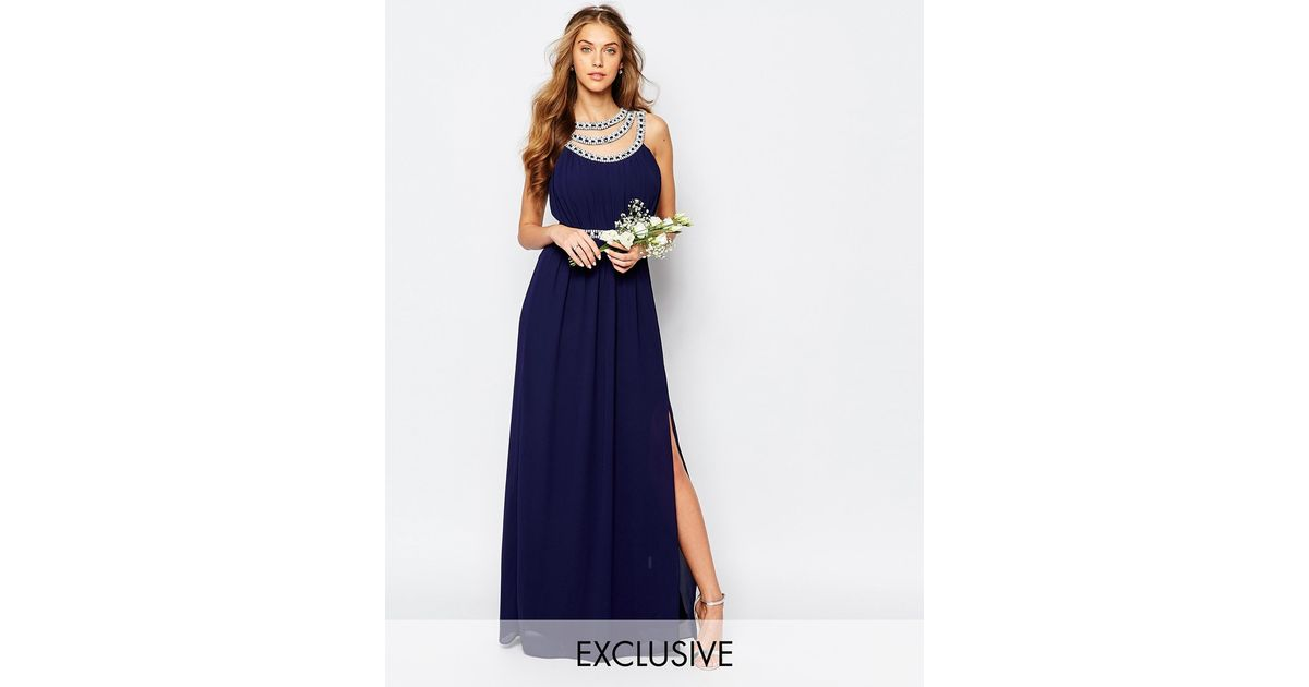 Tfnc london wedding embellished maxi dress in blue lyst for Navy blue maxi dress for wedding