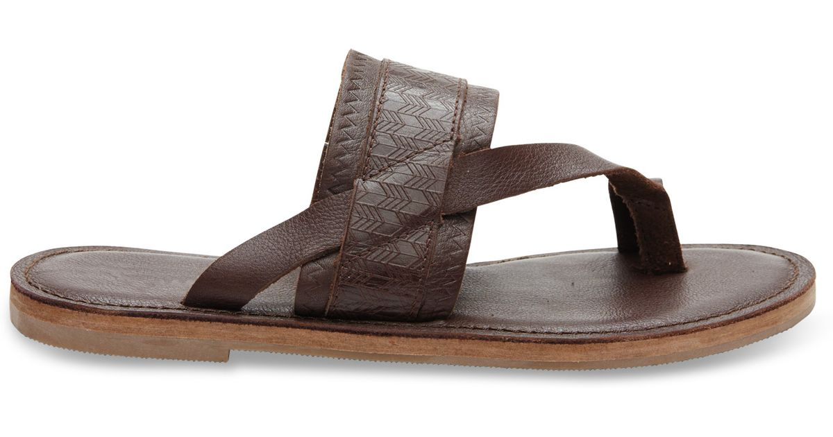 6df879838b8 Lyst - TOMS Mahogany Leather Emboss Women s Isabela Sandals in Brown