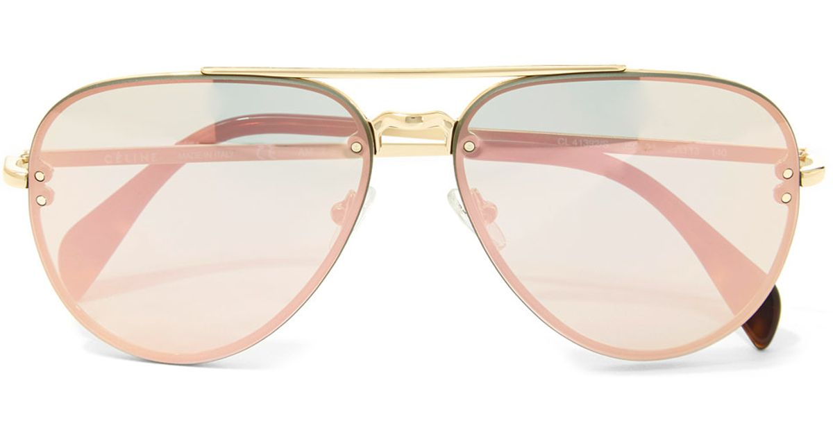 Celine Gold Frame Sunglasses : Celine Gold Metal Aviator Sunglasses in Metallic Lyst