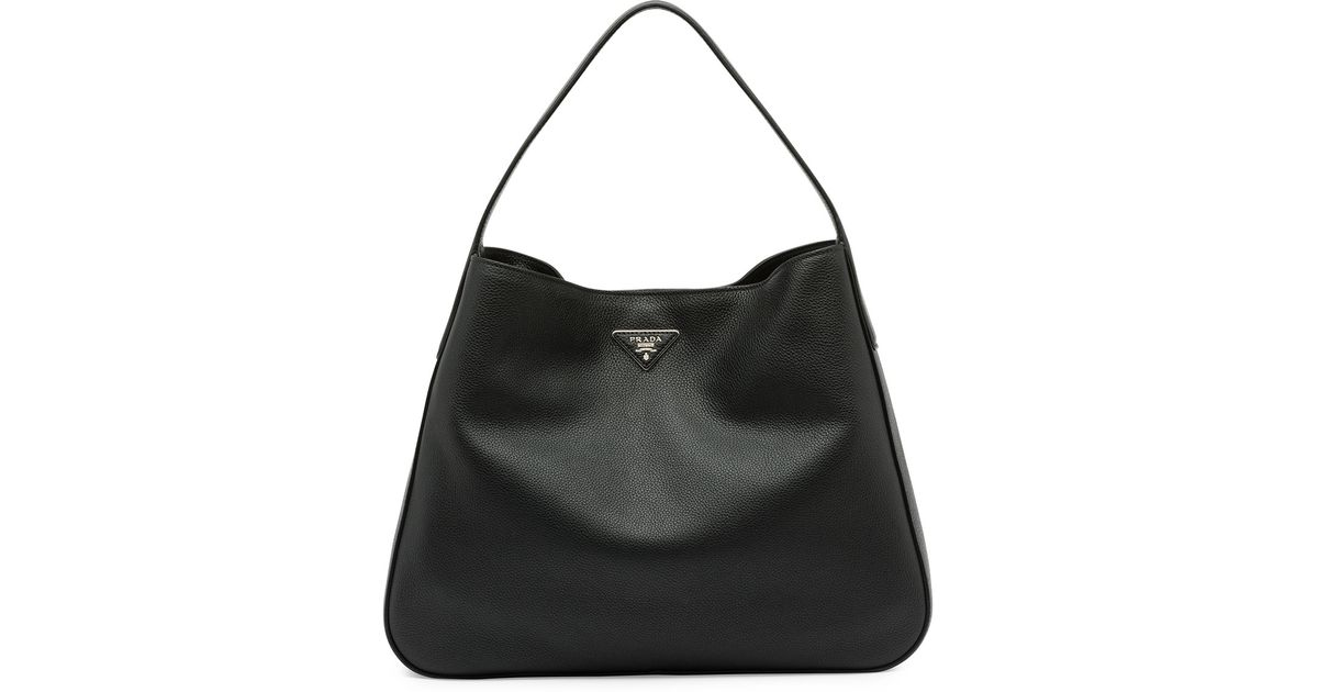 5b32d87d65fb ... amazon lyst prada vitello daino medium wide strap hobo bag in black  1c016 a54ad