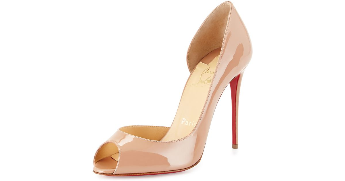 b087a07f4afe Lyst - Christian Louboutin Demi You Half D Orsay Peep-Toe Red Sole Pump in  Natural