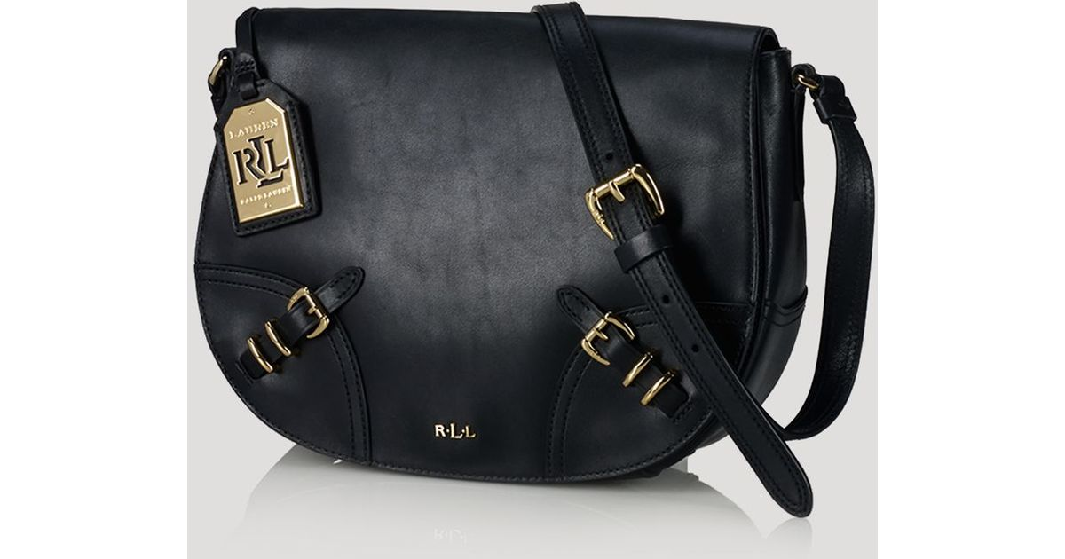 429b6cb5e0b Lyst - Ralph Lauren Lauren Crossbody Lauren Saddle Bag in Black