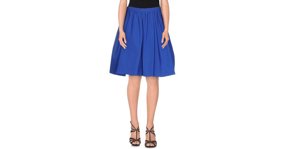 valentino knee length skirt in blue bright blue lyst