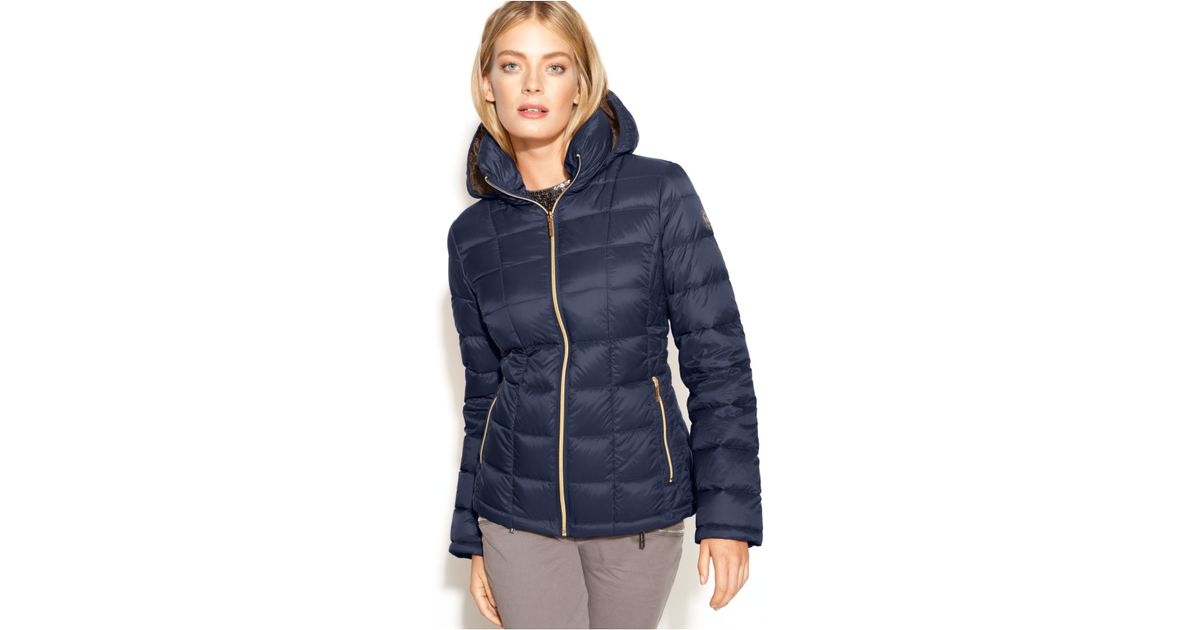 Lyst - Michael Kors Michael Hooded Quilted Down Packable Puffer Coat in Blue 4ff3ebaa91
