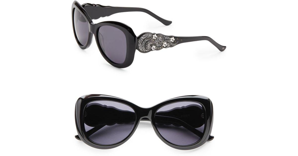 4624303b419 Lyst - Judith Leiber Glitz Flower 54Mm Square Sunglasses in Black