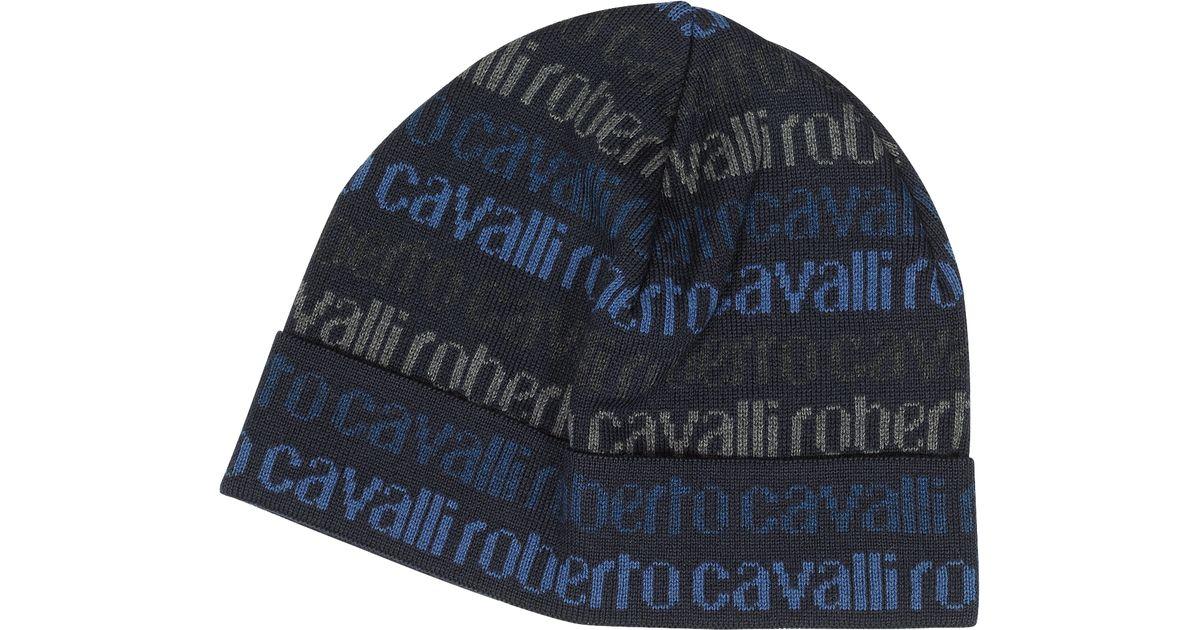 Roberto Cavalli Signature Woven Wool Blend Men s Hat in Blue for Men - Lyst 495b9397d487