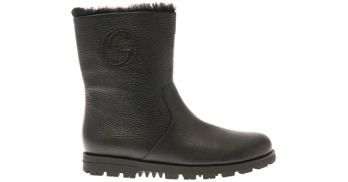 Gucci Meguro Fur-Lined Leather Ankle Boots in Black | Lyst