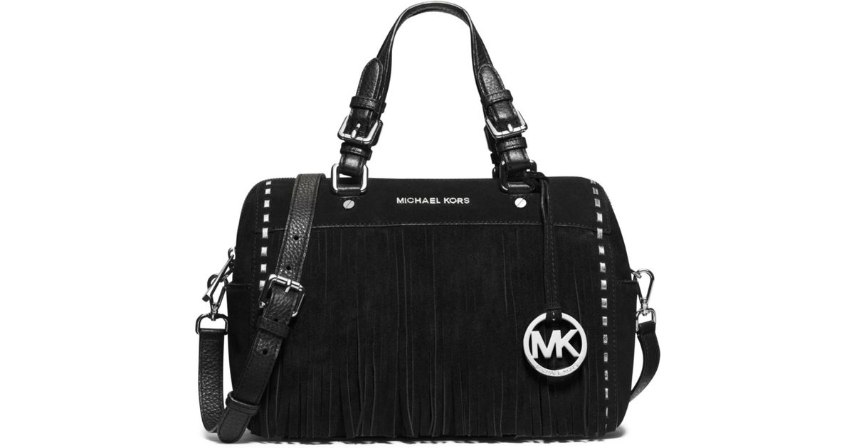 5b06e9790729 Lyst - Michael Kors Billy Large Suede Satchel in Black