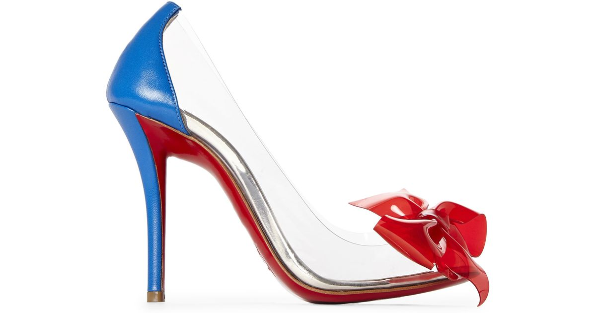 Christian louboutin Clear Pvc Bow Pumps in Blue | Lyst