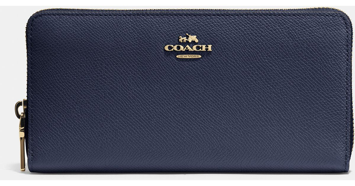 c65e5b829 COACH Accordion Zip Wallet In Embossed Textured Leather in Black - Lyst