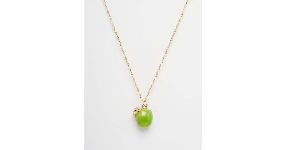 Lyst bill skinner apple pendant necklace in green aloadofball Image collections
