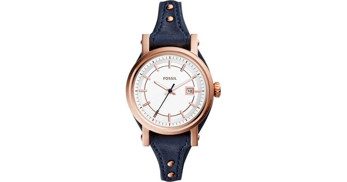 Lyst - Fossil Women s Original Boyfriend Navy Leather Strap Watch 30mm  Es3909 in Blue 4c330a8ced