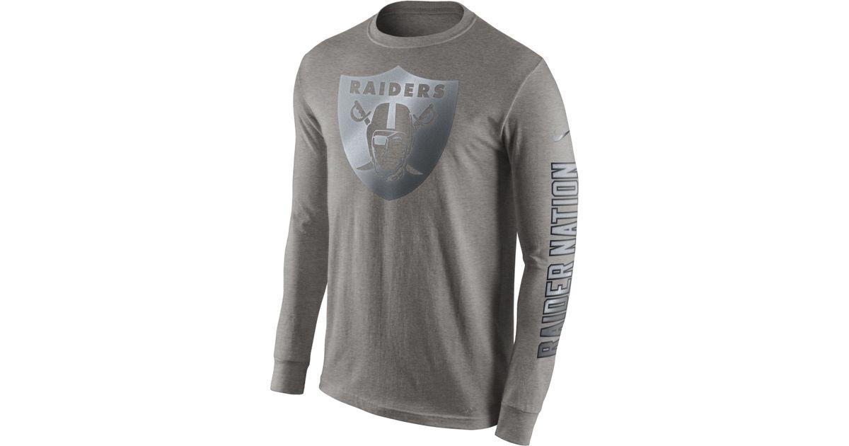 ... Nike Mens Long-sleeve Oakland Raiders Reflective T-shirt in Gray for Men  Lyst ... 73e70e387