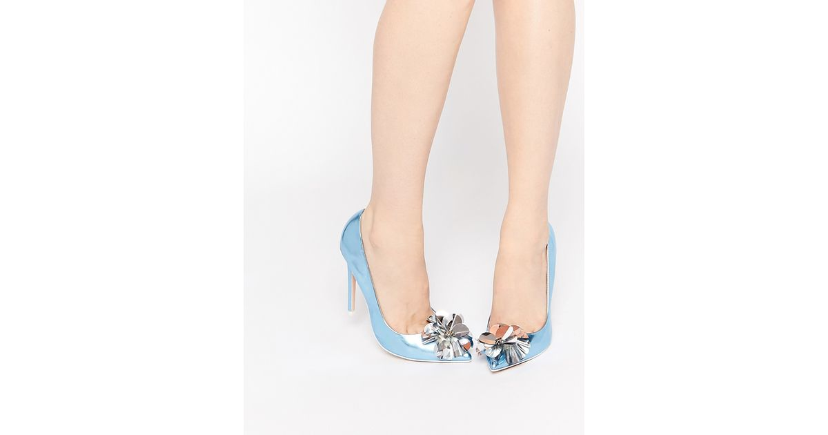 Asos Player Pointed High Heels - Ice Blue in Blue | Lyst
