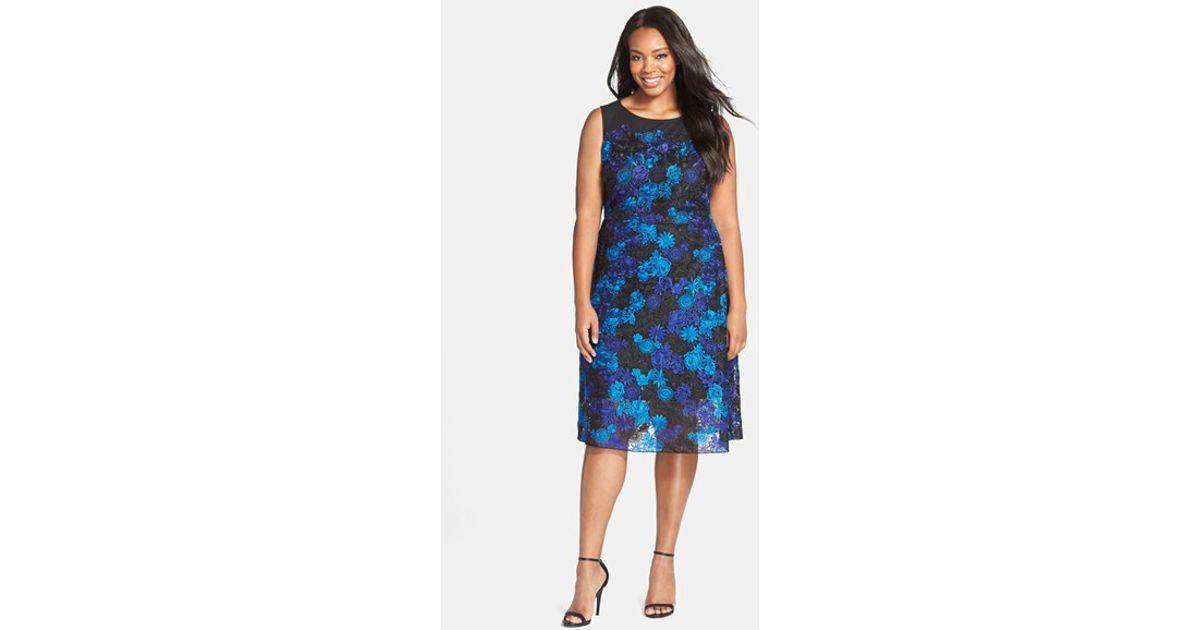 Julia Jordan - Blue Sleeveless Floral Lace Fit & Flare Dress - Lyst