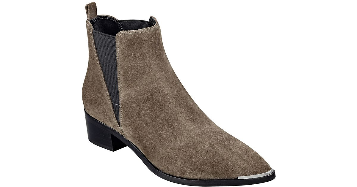 Marc Fisher Yale Croco Print Leather Boots In Gray Lyst