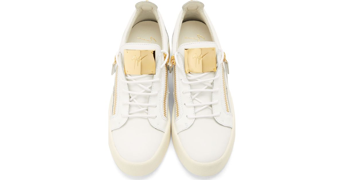 Giuseppe Zanotti White Leather Gold Zip Lace Up Sneakers