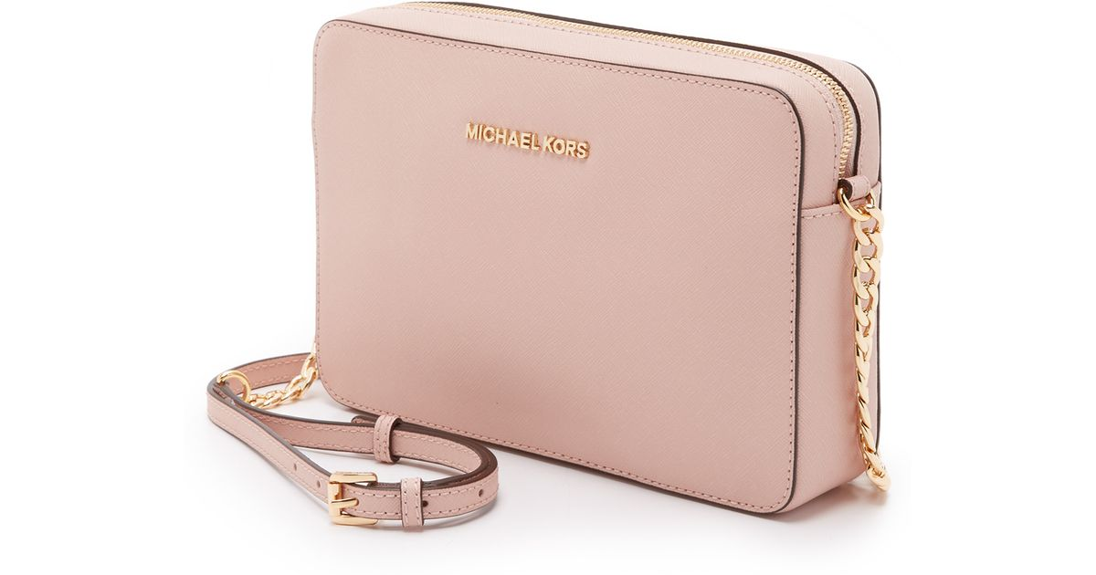 6f6ae6aaa1d7 MICHAEL Michael Kors Medium Jet Set Saffiano Leather Cross-Body Bag in Pink  - Lyst