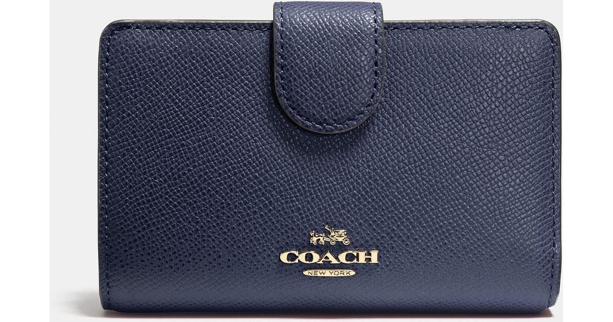 Lyst - COACH Medium Zip Around Wallet In Crossgrain Leather in Blue 1ac75101f9497