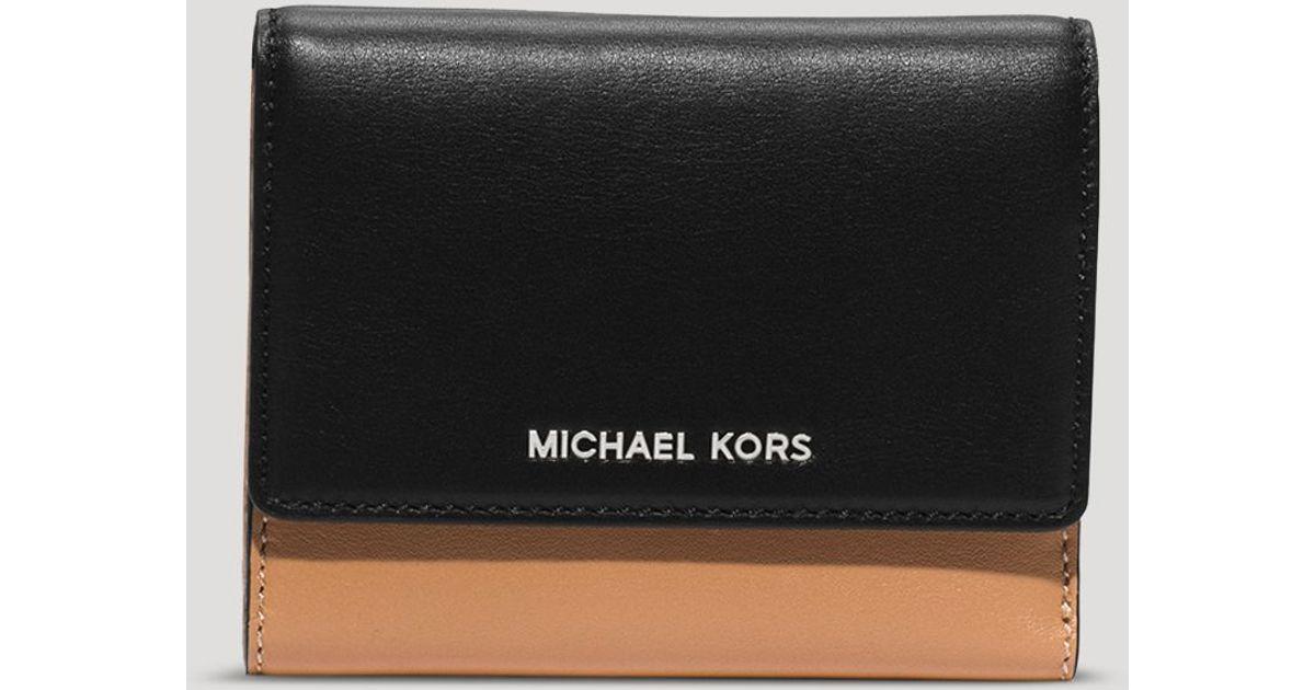 7ccdee4a3b99 Lyst - MICHAEL Michael Kors Wallet - Colby Medium Tri-Fold Colorblocked in  Black