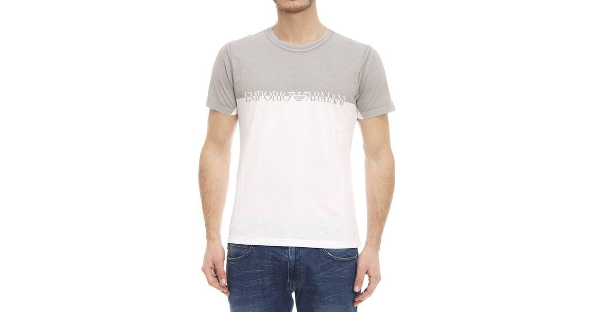 emporio armani t shirt in white for men bianco lyst. Black Bedroom Furniture Sets. Home Design Ideas