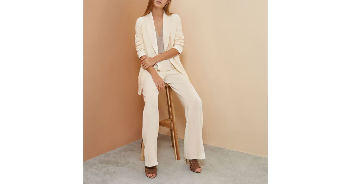 River Island Cream Cropped Trousers