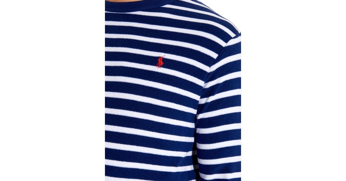 2f3668f4 Polo Ralph Lauren Striped Terry-Towelling Long-Sleeved T-Shirt in Blue for  Men - Lyst