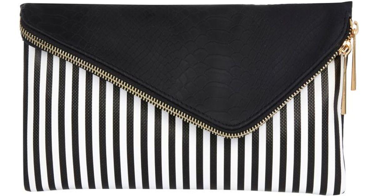 River Island Black And White Stripe Asymmetric Clutch Bag