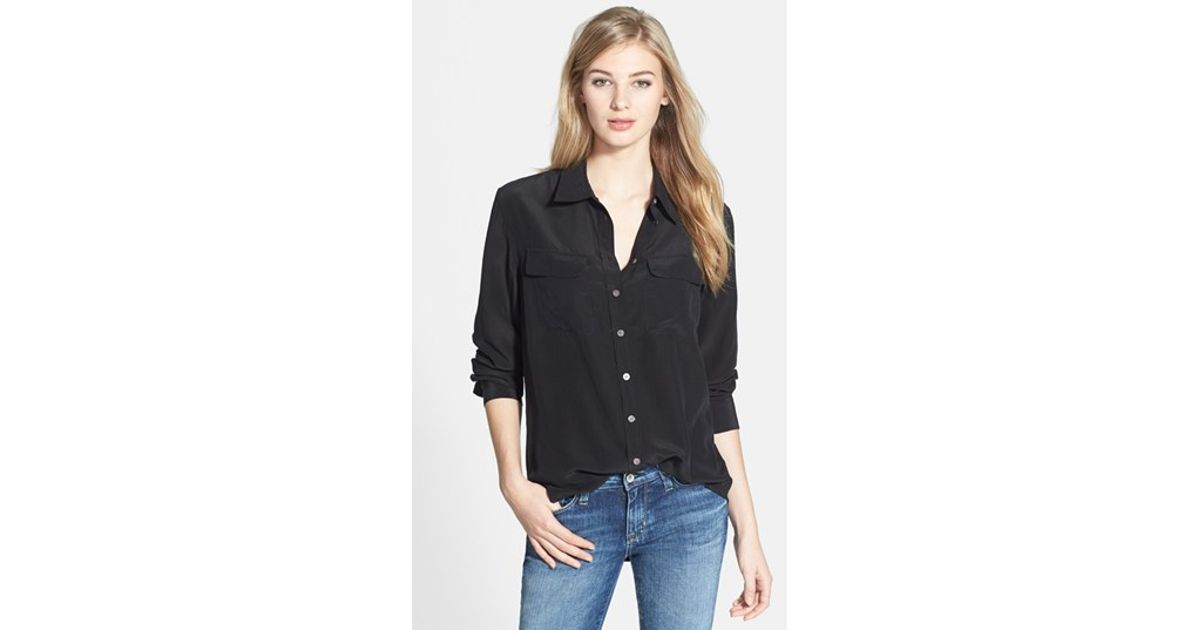 eeb618c579ce24 Lyst - Two By Vince Camuto Silk Utility Blouse in Black