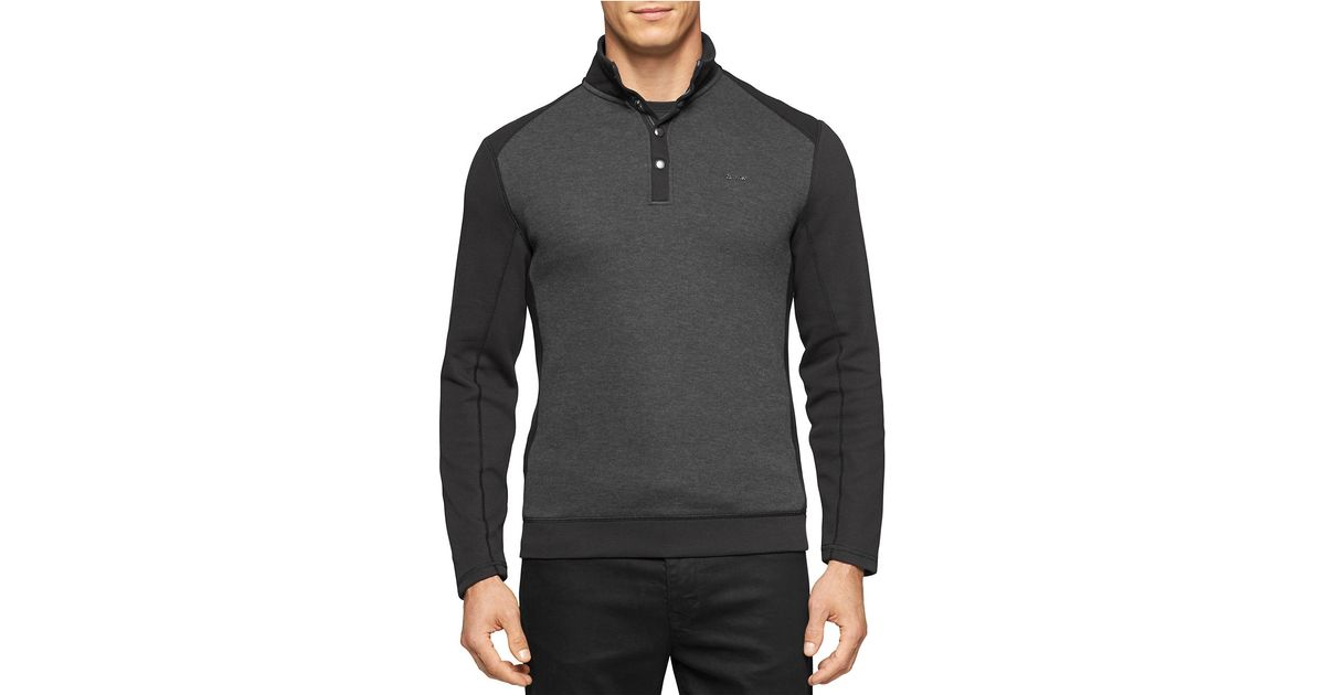 calvin klein colorblocked pullover sweater in black for men lyst. Black Bedroom Furniture Sets. Home Design Ideas