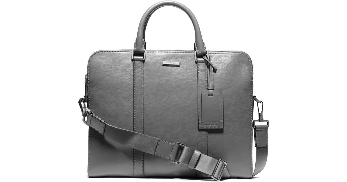 94239275c Michael Kors Warren Slim Leather Briefcase in Gray for Men - Lyst
