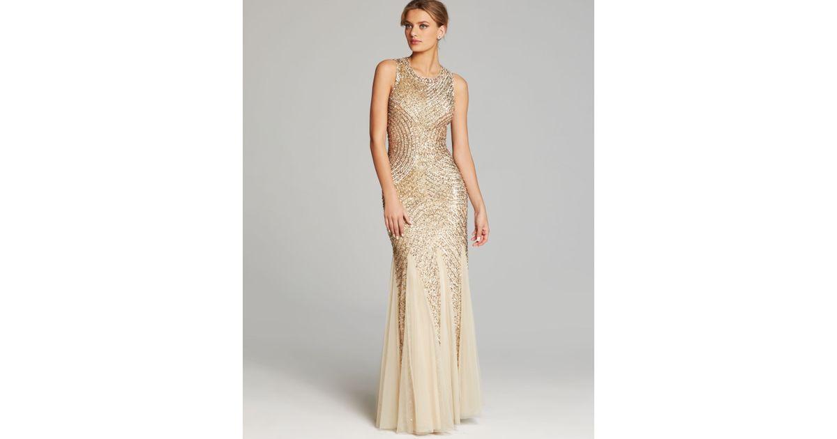 Lyst - Aidan Mattox Gown Sleeveless Sequin Beaded Godet in Metallic